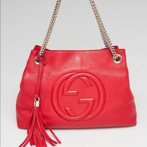Gucci Soho Red Gold chain shoulder bag! Authentic